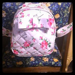 Betsey Johnson white with roses small backpack